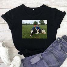 КЭ knuffelen футболка Для женщин с принтом коровы короткий рукав