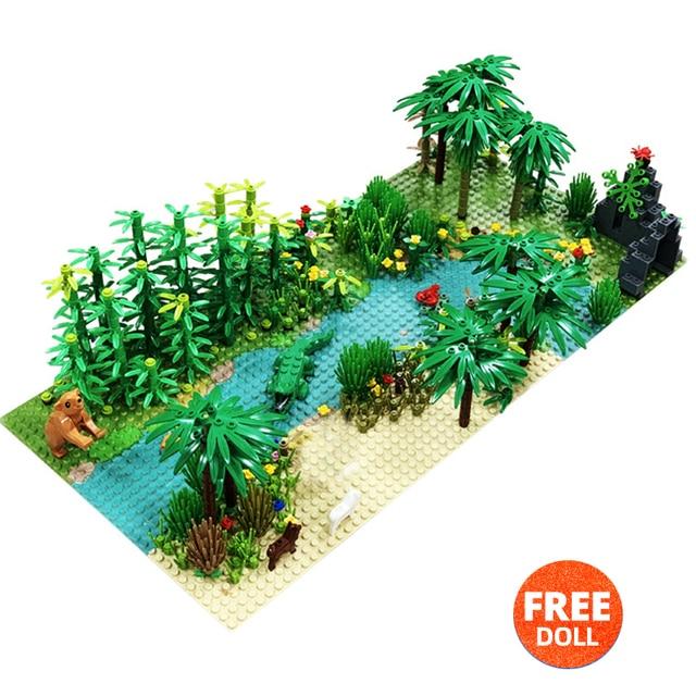 32*32Dots Classic Base Plates Tropical Rainy Climate Green Jungle Building Blocks Rainforest Animal Grass Tree MOC Kids Toy Gift