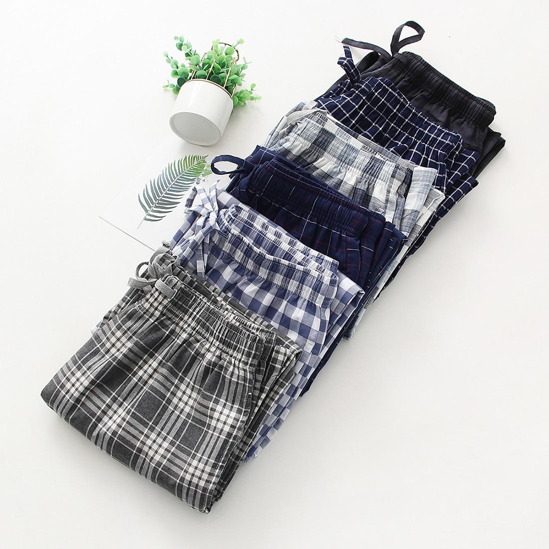2020 outono de alta-men algodão sono bottoms masculino plus size calças de noite casual afrouxar xadrez calças de pijama xxl
