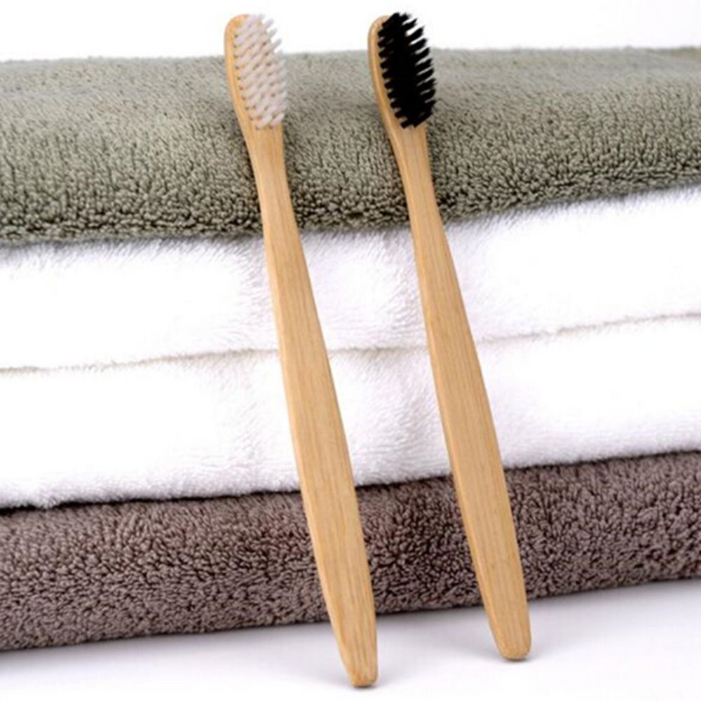 2 Pcs Durable Personal Health Environmental Bamboo  Charcoal Toothbrush Oral Care Teeth Eco Soft Medium Wooden Tooth Brushes