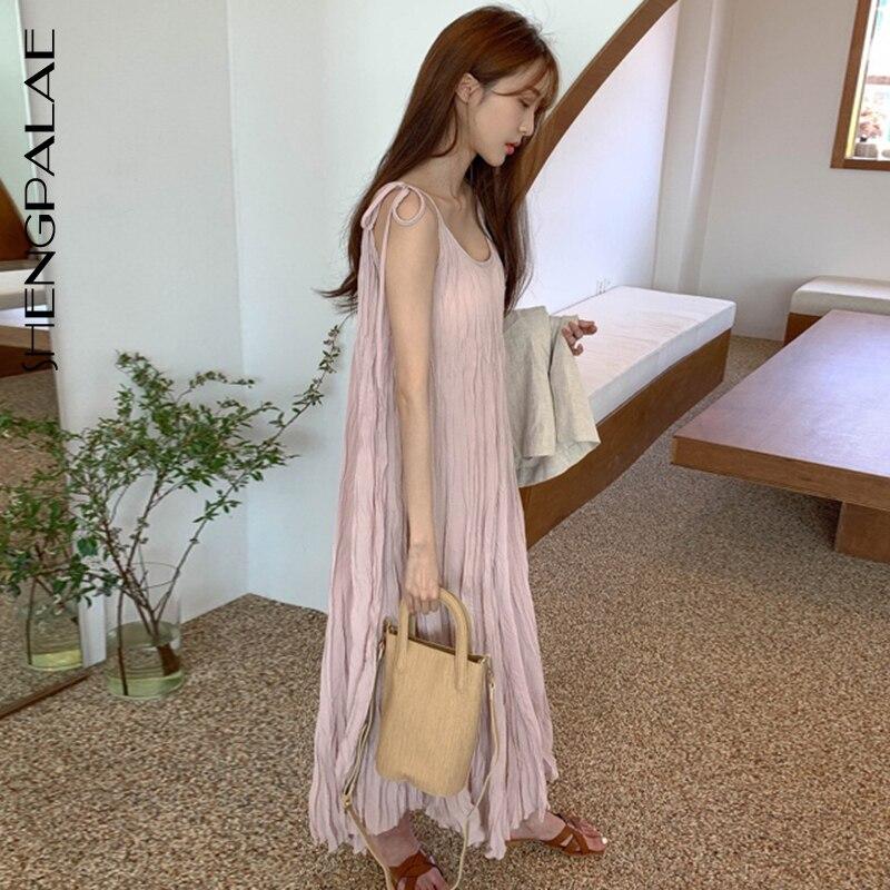 SHENGPALAE 2020 New Summer Women Vintage Loose High Waist Slim Was Thin Elegant O-neck Design Pleats Maxi Dress ZA4472