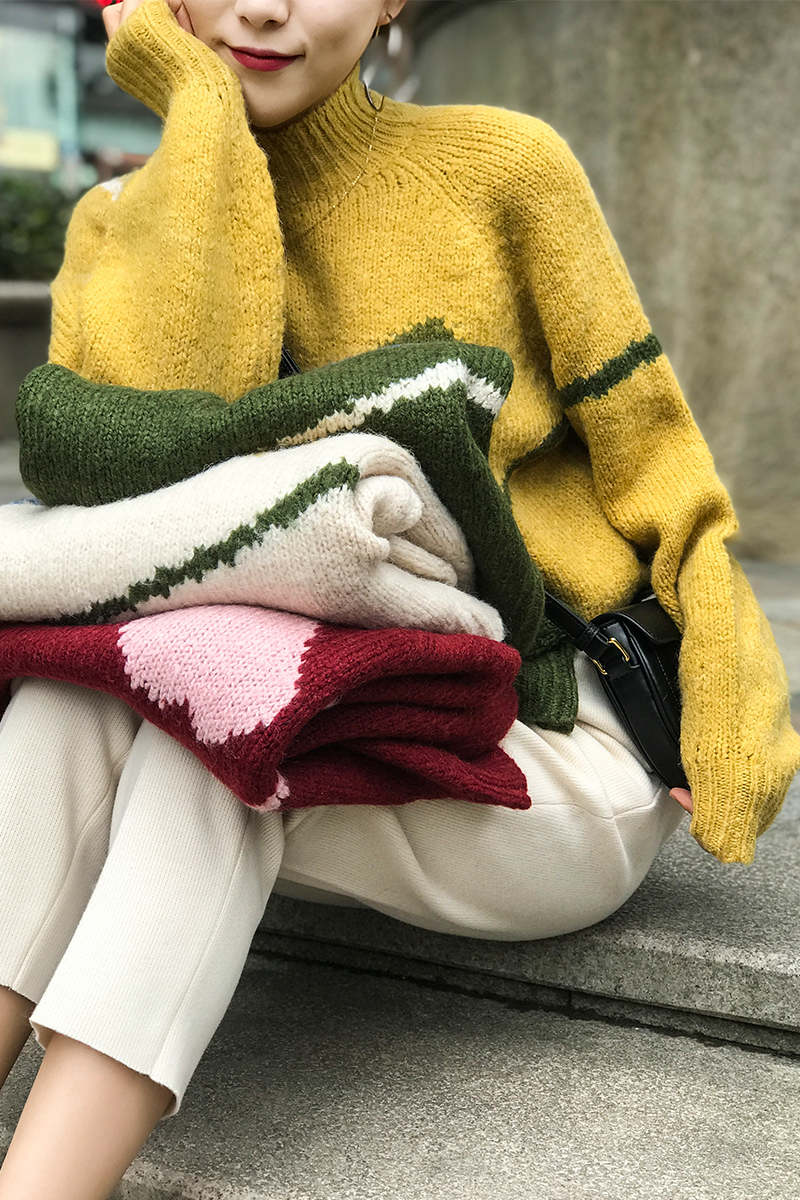 Suéter de mujer 2019 Otoño e Invierno amor líneas pintadas capucha suelta gruesa varilla forma de aguja suéter de lana on AliExpress