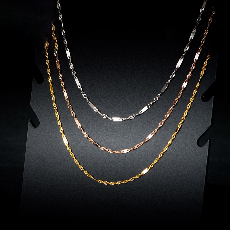 """Pure Solid 18K Gold Necklace Women Luck Special Singapore Link Chain 1mmW 16"""" 18"""" (18K Yellow / Rose / White / Multi-tone Gold) 1"""