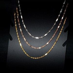 Однотонное ожерелье из 18-каратного золота, Женская удача, специальная сингапурская цепочка, 1mmW 16