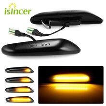 2 шт. дымовые линзы, Динамический светодиодный поворотный сигнал, босветильник вой габаритный фонарь, поворотный фонарь для BMW E90, E91, E92, E93, E60, ...