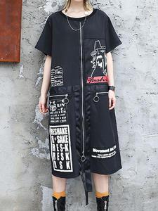 Платье XITAO женское, с буквенным принтом, большие размеры