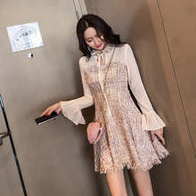 Sweet Chic Korean Dress Women Autumn Winter Patchwork Lace-up Flare Sleeve Mini Vintage Dress Elegant S-XL A Line Vestido Casual