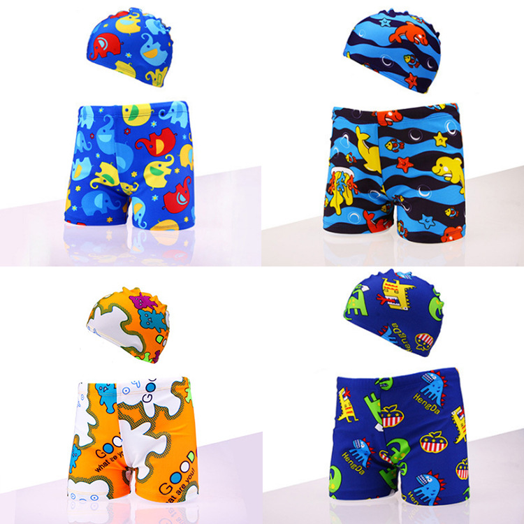 CHILDREN'S Swimming Trunks + Swim Cap 2019 New Style Boxer CHILDREN'S Swimming Trunks Floral CHILDREN'S Swimming Trunks Manufact