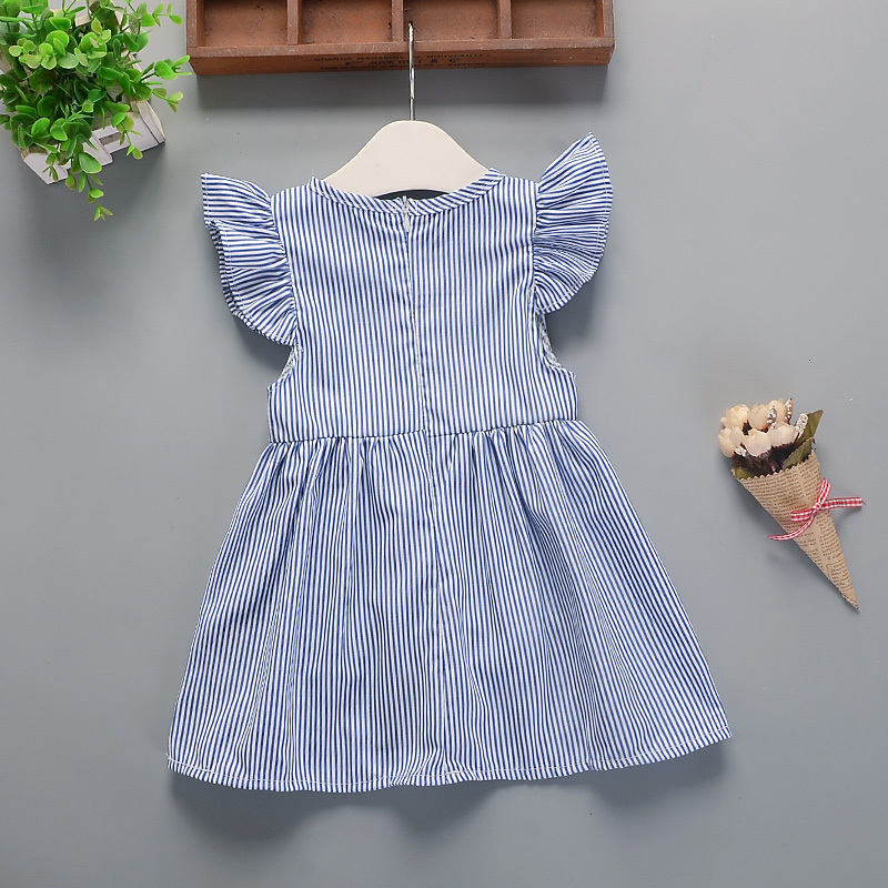 H089be28a50ee47fdb294e4a93c364603z Hot 2018 New Summer Dress Toddler Kids Baby Girls Lovely Birthday Clothes Blue Striped Off-shoulder Ruffles Party Gown Dresses