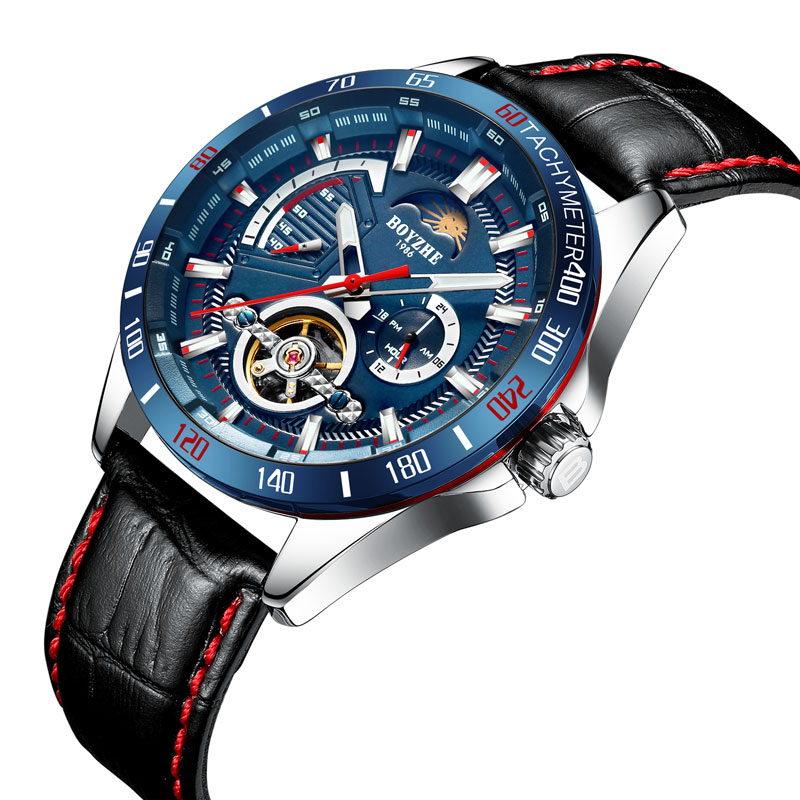 BOYZHE Luxury Tourbillon Watch Men Automatic Mechanical Watch Male Waterproof Watches Leather Strap Hollow Clock 24 hour display