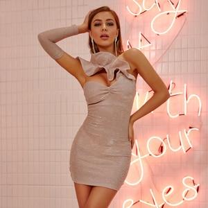 Image 3 - Jillperi女性構造化フリルネックスパークリングミニドレスセクシーなストラップレス変色セクシークラブドレスボディコン衣装ブリンブリンナイトクラブの摩耗ドレス