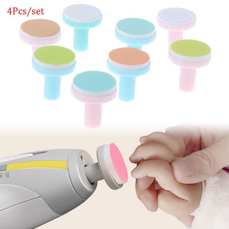4 шт., электрический триммер для ногтей, Сменная головка для детей, безопасная для маникюра и полировки ногтей, Песочная губка