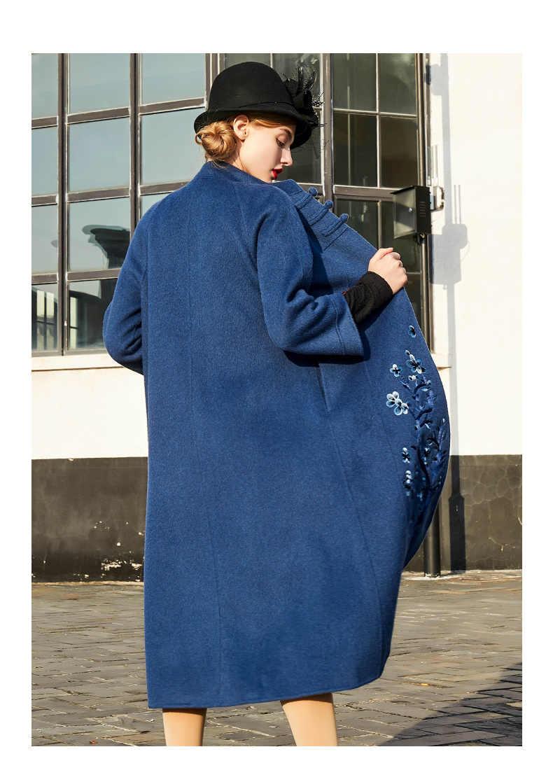 AYUNSUE зимнее женское пальто из настоящей шерсти, женское элегантное двухстороннее шерстяное пальто, женское длинное пальто из альпаки, манто Femme 89520
