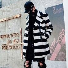 Homens xadrez inverno longo casaco de lã double breasted casaco de lã dos homens coreano estilo lo