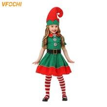 VFOCHI New Girls Christmas Elf Dress Boy Halloween Costume Set Santa Claus Kids Adults Family Green Clothing
