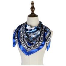 silk scarf square blue  foulard femme hijab bandana echarpes luxury brand bufanda hombre mujer shawls 90cm large stock