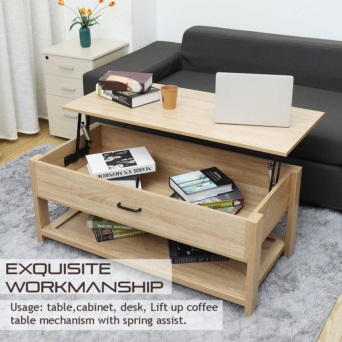 Modern Multifunctional Adjustable Lift Top Coffee Table Sofa Side Table Living Room Home Wooden Compartment Storage Furniture Coffee Tables Aliexpress