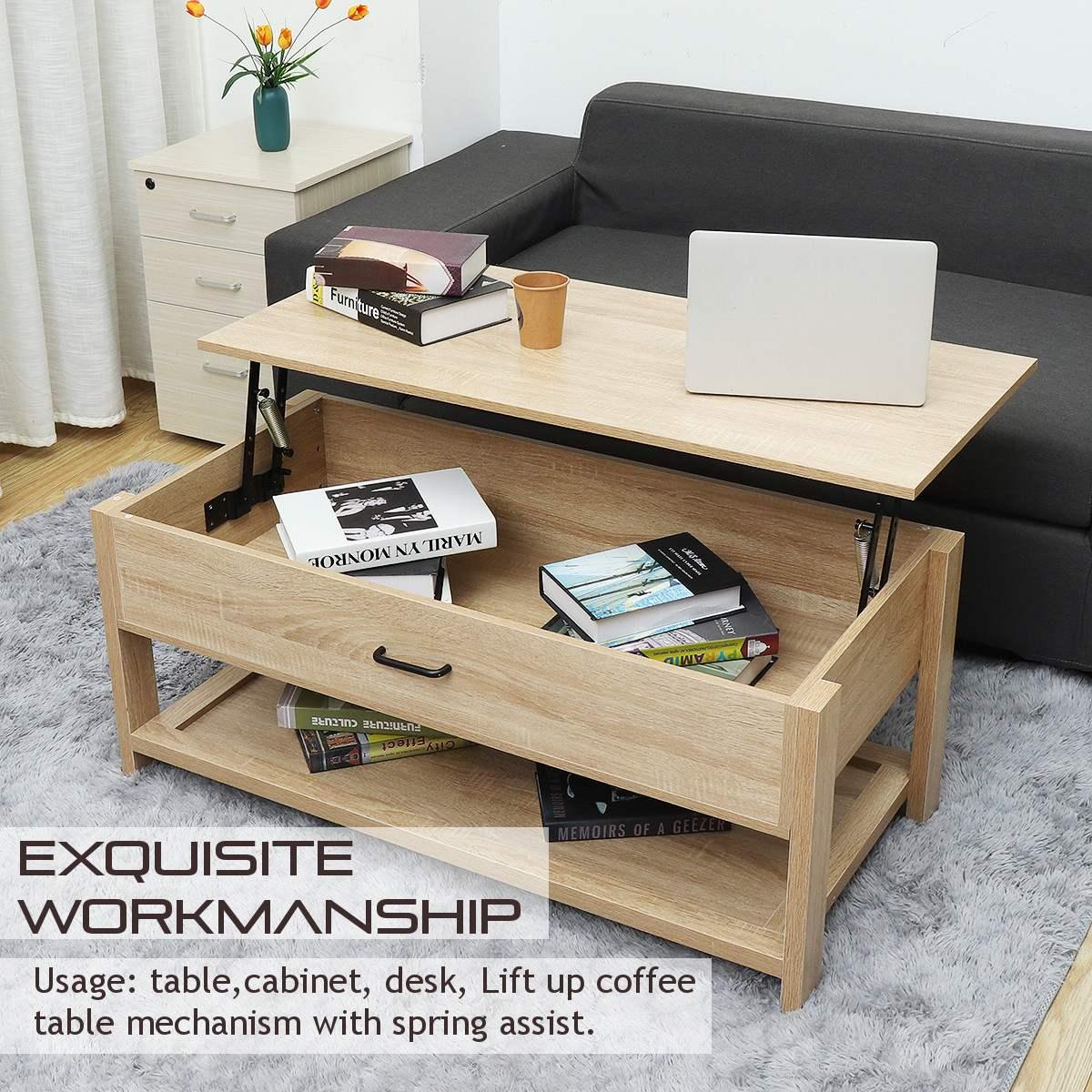 - Modern Multifunctional Adjustable Lift Top Coffee Table Sofa Side