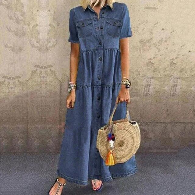 Plus Size 3xl Women Summer Denim Dress Retro Women Short Sleeve Turn Down Collar Pockets Button Long Loose Denim Dress 3