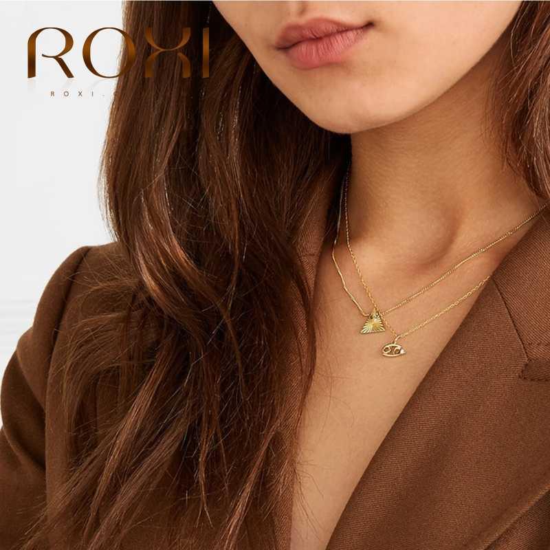ROXI 12 Constellation คริสตัลจี้สร้อยคอ 925 เงินสเตอร์ลิงโซ่เครื่องประดับ Collares Bijoux Femme สร้อยคอ