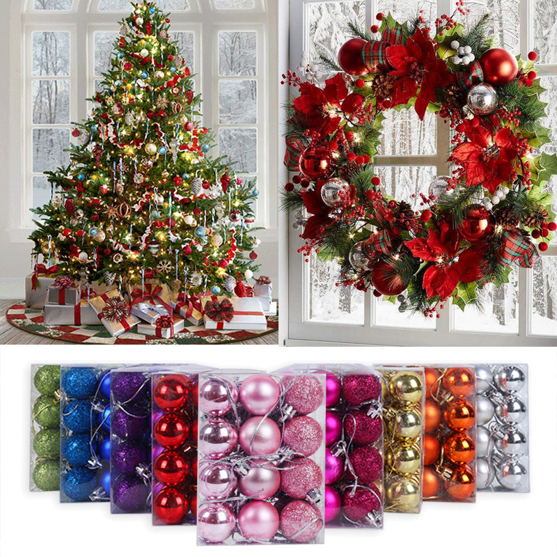 24/34pcs Christmas Balls Glitter Christmas Tree Ornaments Hanging Christmas Decorations for Home Palline Navidad Xmas Decor Noel