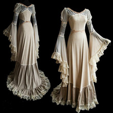 New Medieval Renaissance Long Lace V-Neck Dress Celtic queen Party Gown Princess Cosplay Costume Palace Maxi Dress S-2XL