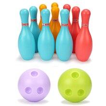 10 контактов и 2 шара, детский спортивный набор игрушек для боулинга, красочный шарик для боулинга, Детская уличная и комнатная игра, спортивн...