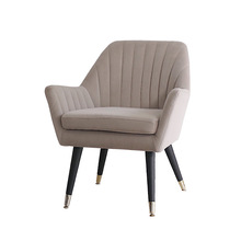 Mid-Century Modern Fabric Upholstered Accent Chair with Wood Legs Armchair for Home Office Study Living Room Vanity Bedroom Dorm