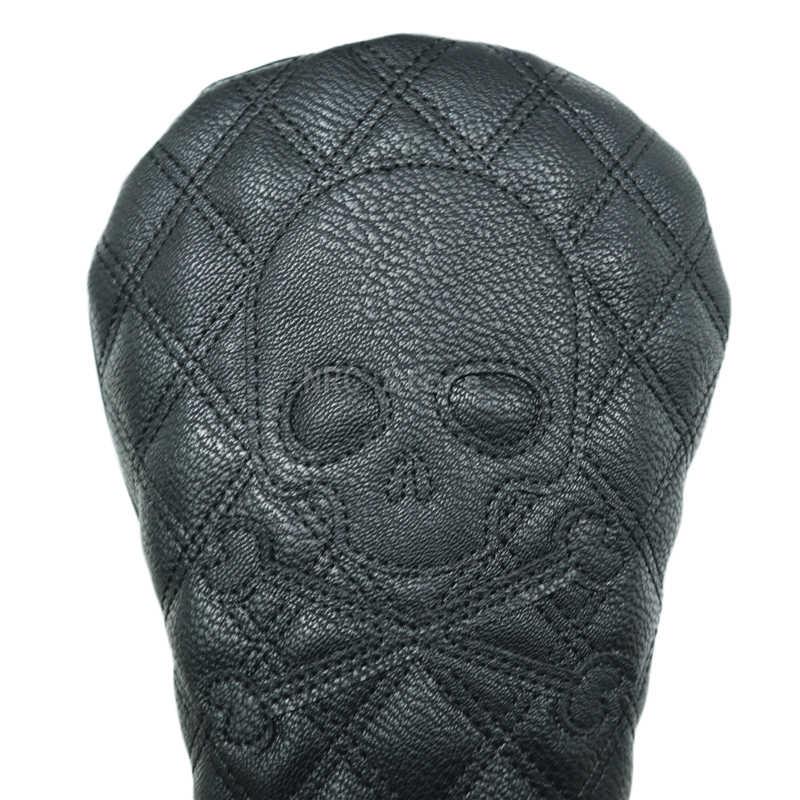 Чехол на голову для водителя, гольф-клуба, ПУ кожа, Модный черный скелет, черный, 1 шт.
