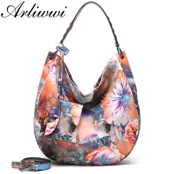 Arliwwi Brand Designer High Quality Women Fashion Synthetic Leather Hobos Handbags Female Flower Embossed Large Bags New PY02-1