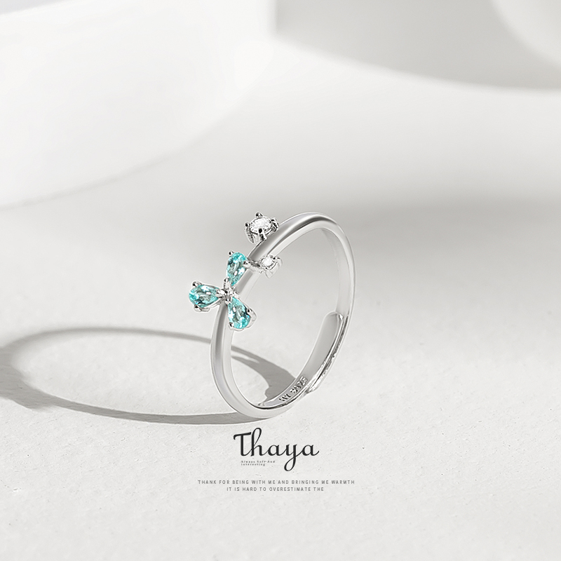 Thaya Blue Petal Adjustable Jewelry Ring 925 Silver Ring Cubic Zircon Crystal Round Rings For Women Engagement Gift