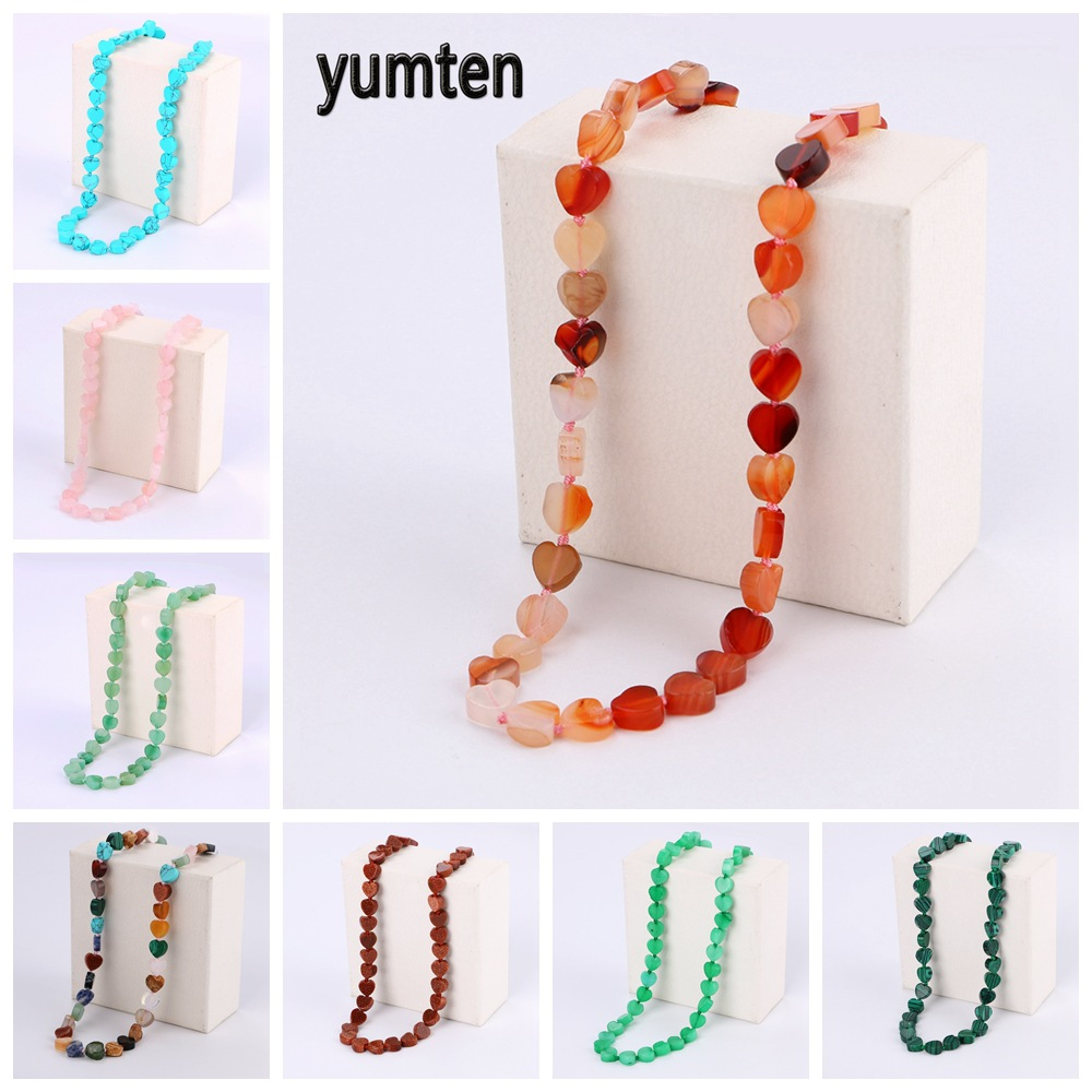 Malachite Rainbow Necklace Women Choker Love Heart Bead Chain Fashion Femme Jewelry Couple Accessories Valentines Day Gift