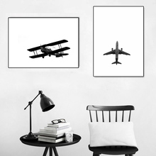 Black And White Posters Airplane Wall Art Canvas Painting Prints Abstract Print Pictures For Bedroom