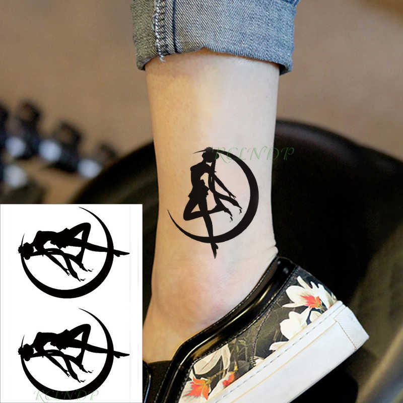 Waterdichte Tijdelijke Tattoo Sticker maan dansen meisje zwarte nep tatto flash tatoo hand been arm terug voor kid mannen vrouwen kind