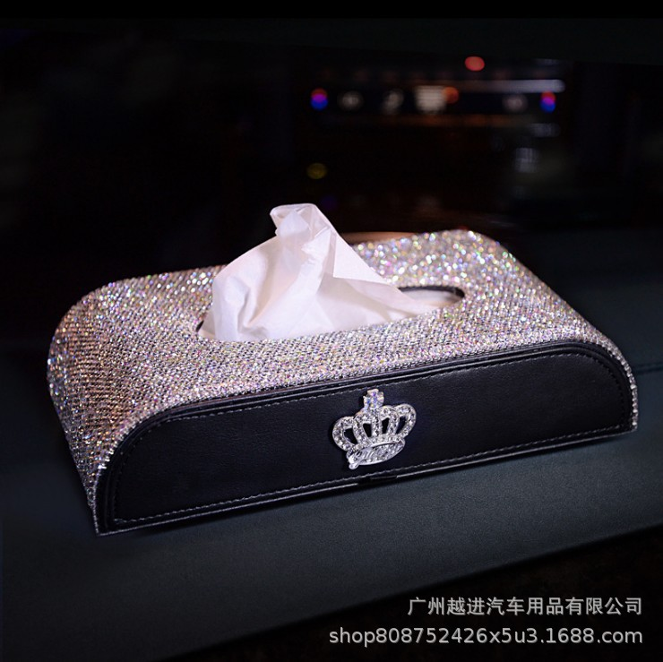 Diamond Set Crown Car Tissue Box Car Mounted Tissue Box Car Paper Extraction Box Seat Type Tissue Box Car Creative New Style
