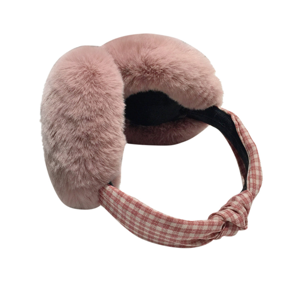 Fashion Plush Earmuffs Ladies Plaid Element Cute Warm Comfortable Exquisite Earmuffs Knot Windproof Multicolor Soft New