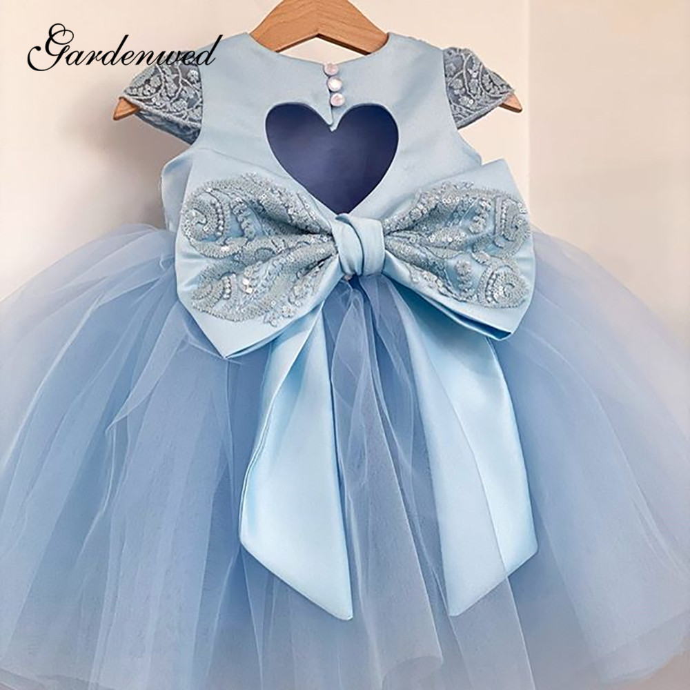 Cute Blue Flower Girl Dresses Big Bow Lace Cap Sleeves Girls Pageant Dresses O-Neck Keyhole Back Tulle Baby Wedding Party Dress