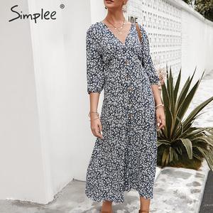 Image 3 - Simplee sexy decote em v floral imprimir mulheres vestido, elegante, feriado, verão, estilo vintage, mulheres, midi vestidos