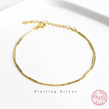 S925 Sterling Silver Golden Shaped Long Bead Chain Bracelet For Women Student Party Jewelry Accessories Friendship Gift
