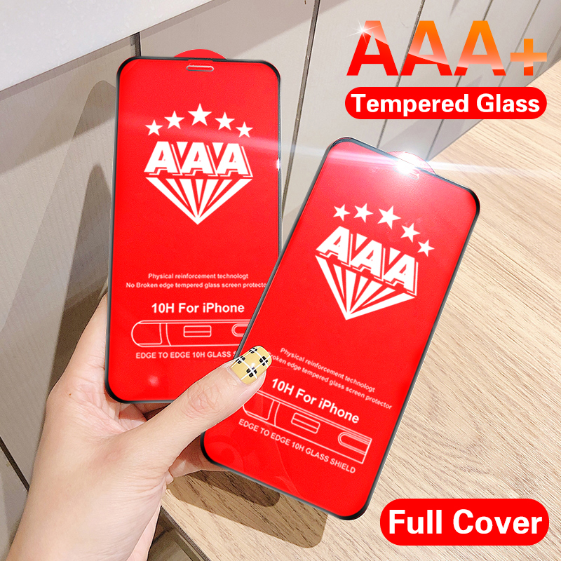 AAA+ Curved Full Cover Tempered Glass On For Iphone 11 Pro X XR XS  Screen Protector Protective Film For Iphone 7 6 8 Plus Glass