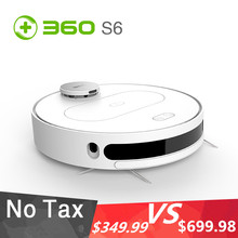 360 S6 1800Pa Robot Vacuum Cleaner Automatic Sweeping Dust Sterilize Smart Plan Washing Mopping Remote Control With LDS Sensor dibea gt200 smart gyroscope robot vacuum cleaner for home automatic sweeping dust sterilize smart planned washing mopping
