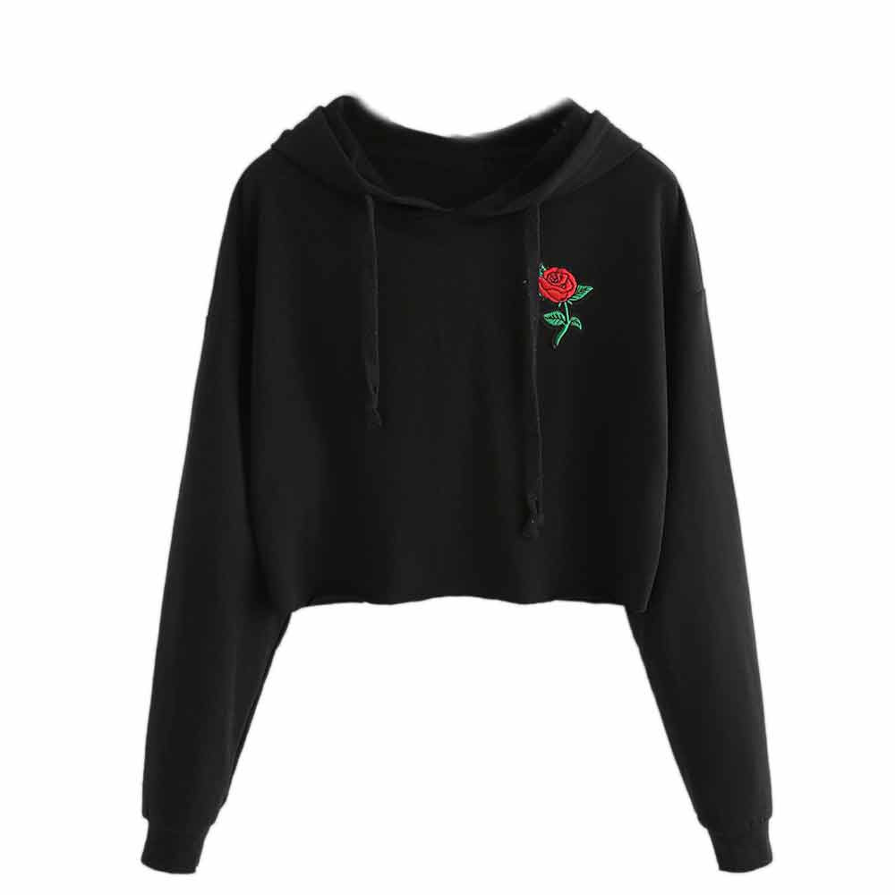 JAYCOSIN Fashion Women Casual Embroidery Rose Long Sleeve Sweatshirt Thin Hoodie Unique Print Chic Comfortable Pullover