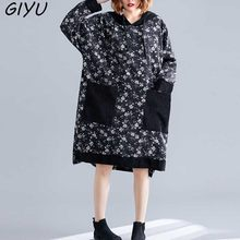 Plus Size Women Autumm Dress 2019 Vintage Winter Thick Velvet Large Size Loose Female Long Sleeve DressPrint Cruque Hooded 6XL(China)