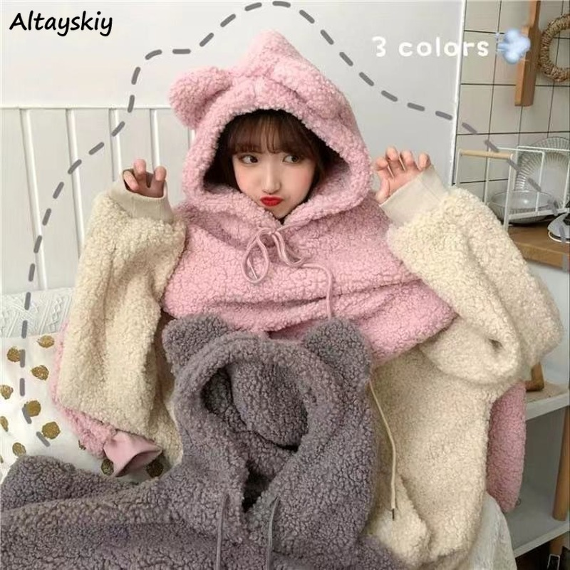Hoodies Women Thickening Warm Cute Ears Solid Pink Kawaii Lamb Wool Soft Girls All-match Winter Harajuku Pullover Hooded Casual