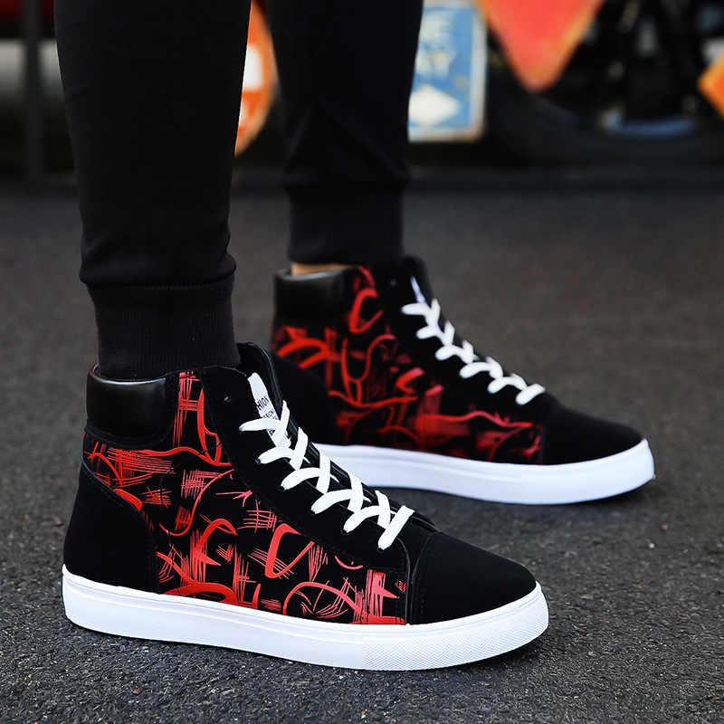 Ayakkabı yeni erkek rahat ayakkabılar yüksek üst Sneakers erkekler vulkanize ayakkabı platformu Sneakers kaliteli erkek spor ayakkabı Masculinas2019