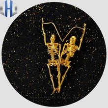 Full Body Skeleton Earrings 24K Pure Gold Skull Men And Women