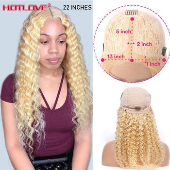 613 Blonde Lace Front Human Hair Wigs 28 inches Brazilian Deep Wave Wigs 13x1 T-Part Lace Frontal Wig T-Lace Middle Part Wigs image