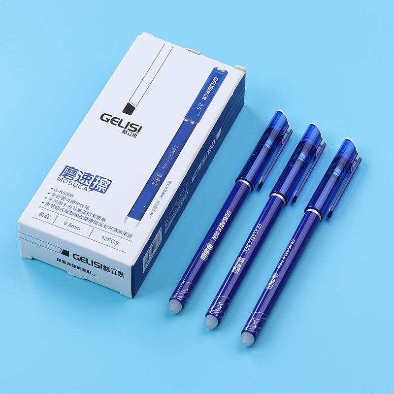 12Pcs Borrable Gel Plumas Azul Tinta de Escritura Oficina Escuela Supplies 0.5mm
