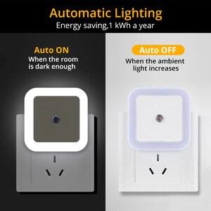 Image 4 - Kablosuz sensör LED gece lambası Mini kare indüksiyon gece lambası ab abd Plug çocuk çocuk odası oturma odası ışık