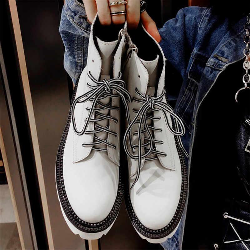 Prova Perfetto vrouwen Vrouwelijke Enkellaars Platte Schoenen Winter Echt Leer Lace Up Schoenen Punk Plus Rijden Botines Mujer 2019